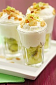 Kiwi fruit and almond dessert in glasses