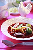 Beetroot soup with chicken, Ukraine