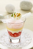Marinated strawberries with quark mousse and advocaat