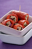 Red pepper rolls with tuna filling