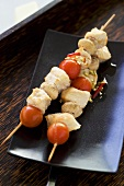 Smoked turkey, tomato and mushroom kebabs