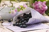 Blueberries in a paper bag, mallow and hydrangea