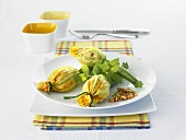 Courgette flowers with rice stuffing