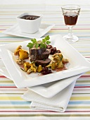 Loin of venison with chanterelles & raspberry vinegar vinaigrette