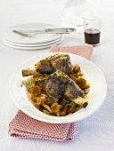 Braised lamb shanks with chanterelles and thyme