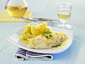 Sole with white wine and caper sauce and new potatoes