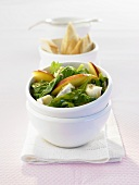 Spinach, Brie and peach salad