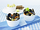 Mussels and vegetables in white wine