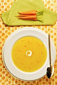 Carrot soup and baby carrots