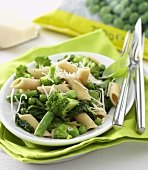 Penne with green vegetables and Parmesan