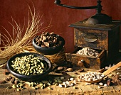 Still life with cardamom and an old coffee mill