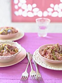 Rhubarb risotto with tuna