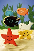 Coloured sea creatures (biscuits)