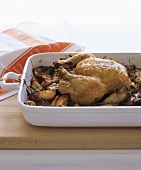 Roast chicken with balsamic peaches and herbs