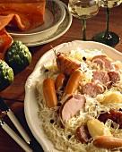 Choucroute garnie (Sauerkraut & sausage dish from Alsace)