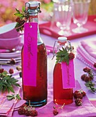 Blackberry syrup in swing-top bottles