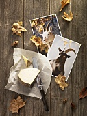 Still life: cheese, postcards & leaves (Maggia Valley, Switzerland)