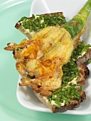 Deep-fried courgette flower on bread & butter with chives