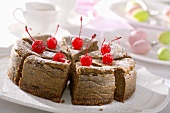 Chocolate cheesecake with candied cherries