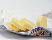 Butter in slices on butter paper
