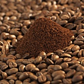 Freshly ground organic coffee and coffee beans