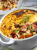 Baked lamb and vegetable dish (with minced lamb)
