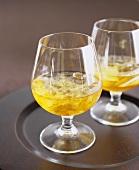 Orange brandy with ice cubes
