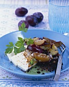 Lentil and damson salad with feta cheese