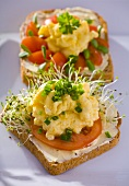 Scrambled egg with chives and cress on wholemeal bread