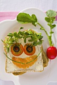 Smoked salmon and cress on wholemeal bread (for children)
