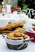 Sliced baguette in bread basket