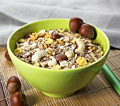 Muesli with nuts in a bowl