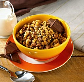 Crunchy muesli with chocolate in a bowl