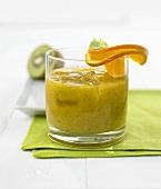 Mango and kiwi fruit smoothie with ginger