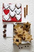Heart-shaped and star-shaped Christmas biscuits