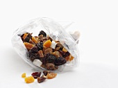 Dried fruit in a plastic bag