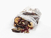 Pieces of chocolate, dried cranberries and nuts