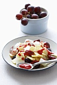 Cheese and grape salad with cherry dressing