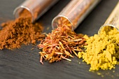 Paprika, saffron and curry powder