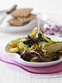 Salad of black chanterelles, pears and bacon