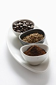 Instant coffee, coarsely ground coffee and coffee beans