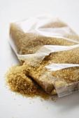 Demerara sugar in plastic packaging