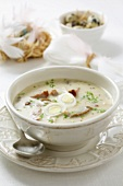 Zurek with sausage and quails' eggs (Polish sour rye soup)