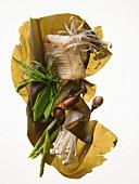 Asian diet: zander, vegetables, sprouts, seaweed & mushrooms