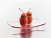 Peeled plum tomatoes stuffed with ratatouille