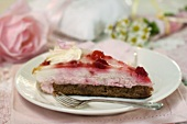 Chocolate topped with raspberries in rose-flavoured quark