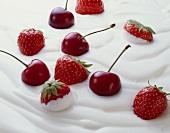 Fresh strawberries and cherries in yoghurt