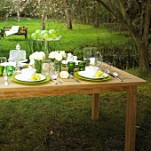 Laid table decorated with white roses in garden