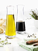 Olive oil, balsamic vinegar, pepper and herbs