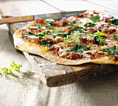 Ham and spinach pizza